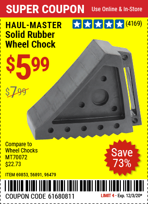 HAUL-MASTER Solid Rubber Wheel Chock for $5.99
