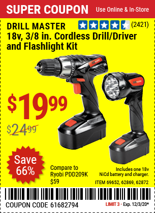 DRILL MASTER 18V 3/8 in. Cordless Drill/Driver And Flashlight Kit for $19.99