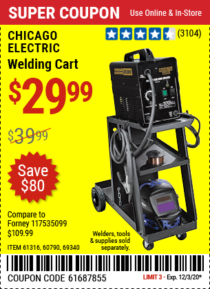 CHICAGO ELECTRIC Welding Cart for $29.99