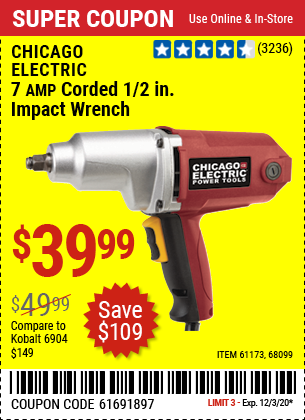 CHICAGO ELECTRIC 1/2 in. Heavy Duty Electric Impact Wrench for $39.99