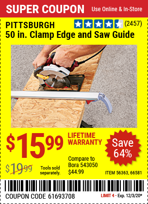PITTSBURGH 50 In. Clamp Edge and Saw Guide for $15.99