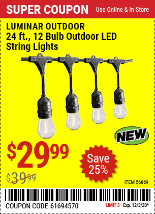 LUMINAR OUTDOOR 24 Ft. 12 Bulb Outdoor LED String Lights for $29.99