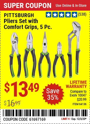 PITTSBURGH Pliers Set with Comfort Grips 5 Pc. for $13.49