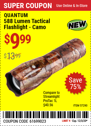 QUANTUM 588 Lumen Tactical Flashlight for $9.99