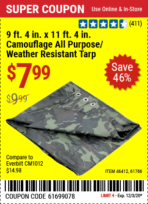 HFT 9 ft. 4 in. x 11 ft. 4 in. Camouflage All Purpose/Weather Resistant Tarp for $7.99