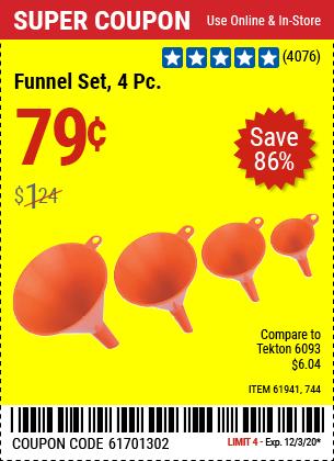HFT Funnel Set 4 Pc. for $0.79