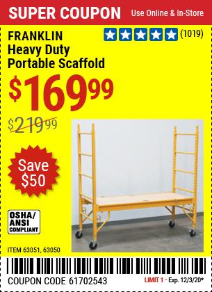 FRANKLIN Heavy Duty Portable Scaffold for $169.99