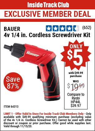 4v 1/4 In. Cordless Screwdriver Kit