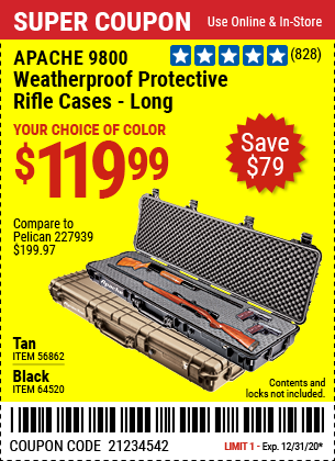 9800 Weatherproof Protective Rifle Case, Long, Tan