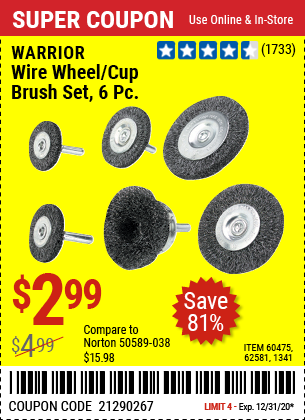 Wire Wheel/Cup Brush Set 6 Pc