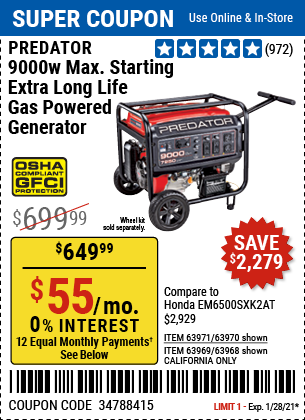 9000 Watt Max Starting Extra Long Life Gas Powered Generator CARB