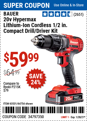 20V Hypermax Lithium Ion Cordless 1 2 in Drill Driver Kit with 1 5 Ah Battery Rapid Charger and Bag