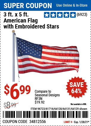 3 Ft x 5 Ft American Flag with Embroidered Stars
