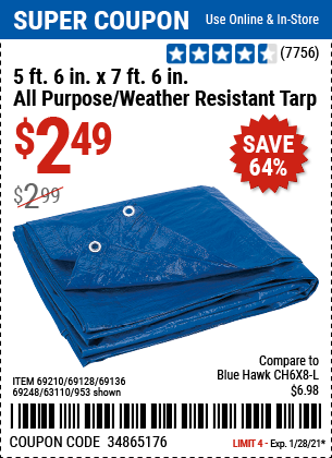 5 ft 6 in x 7 ft 6 in Blue All Purpose Weather Resistant Tarp