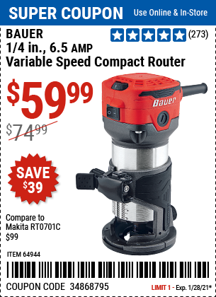 1 4 in 6 5 Amp Variable Speed Compact Router