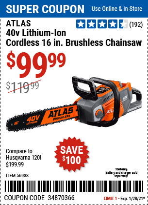 40V Lithium Ion Cordless 16 in Brushless Chainsaw Tool Only