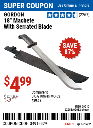 18 in Machete with Serrated Blade