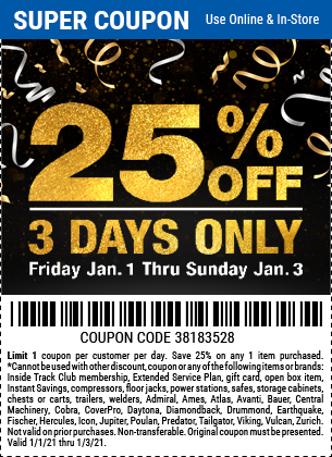 25 Percent Off Any Single Item from Friday 1-1 to Sunday 1-3