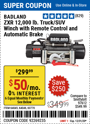 ZXR 12000 lb. Truck/SUV Winch with Remote Control and Automatic Brake