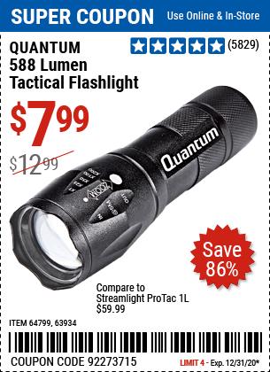 588 Lumen Tactical Flashlight, Black