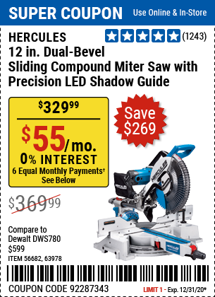 12 in. Dual-Bevel Sliding Compound Miter Saw with Precision LED Shadow Guide