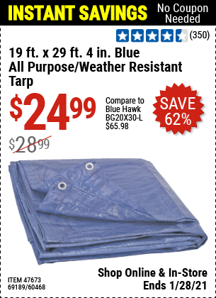 19 ft. x 29 ft. 4 in. Blue All Purpose/Weather Resistant Tarp