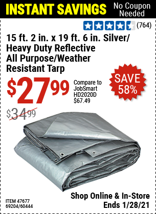 15 ft. 2 in. x 19 ft. 6 in. Silver/Heavy Duty Reflective All Purpose/Weather Resistant Tarp