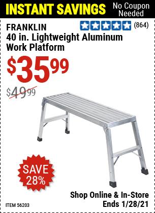 40 In. Lightweight Aluminum Work Platform