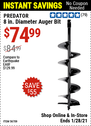 8 in. Diameter Auger Bit