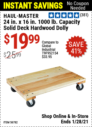 24 in. x 16 in. 1000 lbs. Capacity Solid Deck Hardwood Dolly