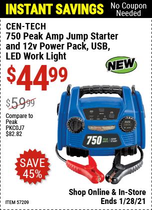 750 Peak Amp Jump Starter and 12v Power Pack, USB, LED Work Light