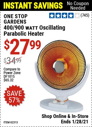 400/900 Watt Oscillating Parabolic Heater