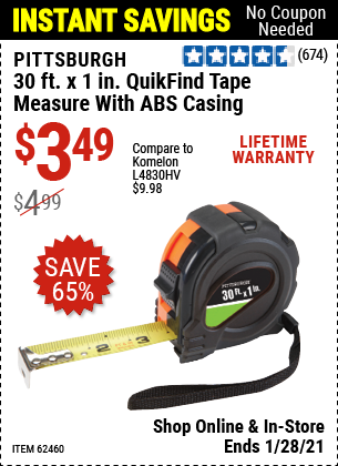 30 ft. x 1 in. QuikFind Tape Measure with ABS Casing