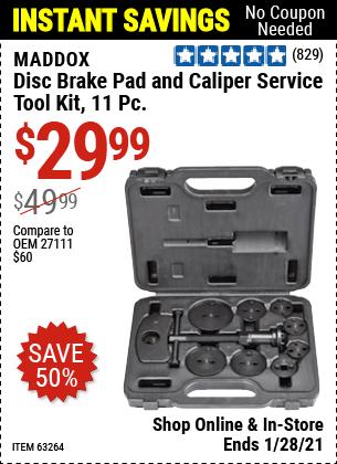 Disc Brake Pad and Caliper Service Tool Kit 11 Pc.