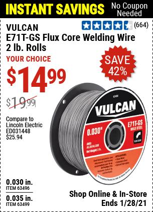 0.030 in. E71T-GS Flux Core Welding Wire, 2.00 lb. Roll