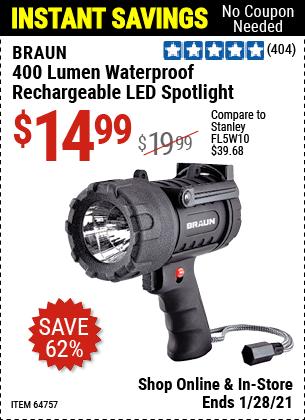 400 Lumen Waterproof Rechargeable LED Spotlight