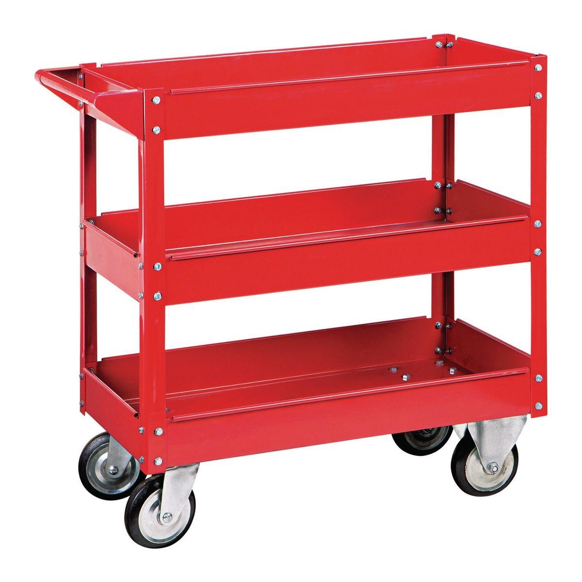 U.S. General 30 In. x 16 In. Three Shelf Steel Service Cart - Item 06650 / 61165 / 62179