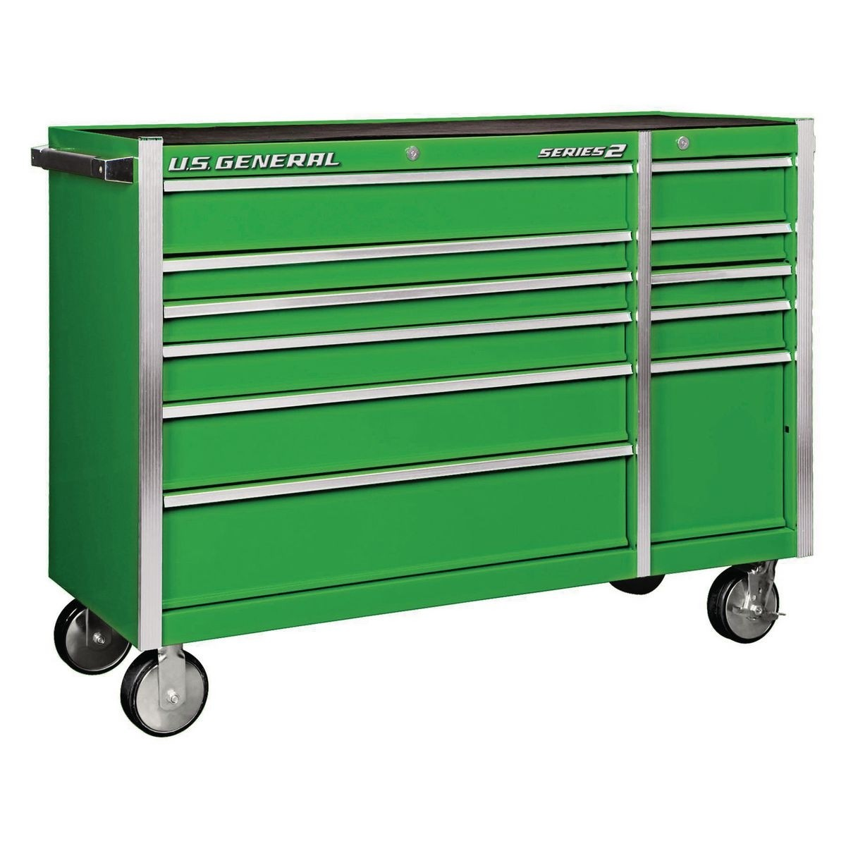 U.S. GENERAL 56 In. Double Bank Roller Cabinet – Green – Item 56110