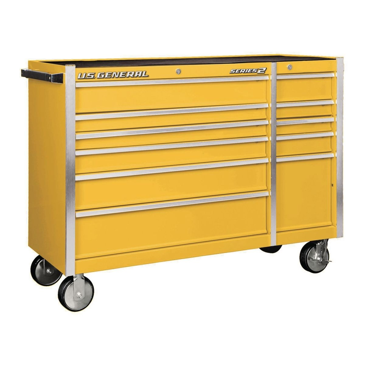 U.S. GENERAL 56 In. Double Bank Roller Cabinet – Yellow – Item 56112