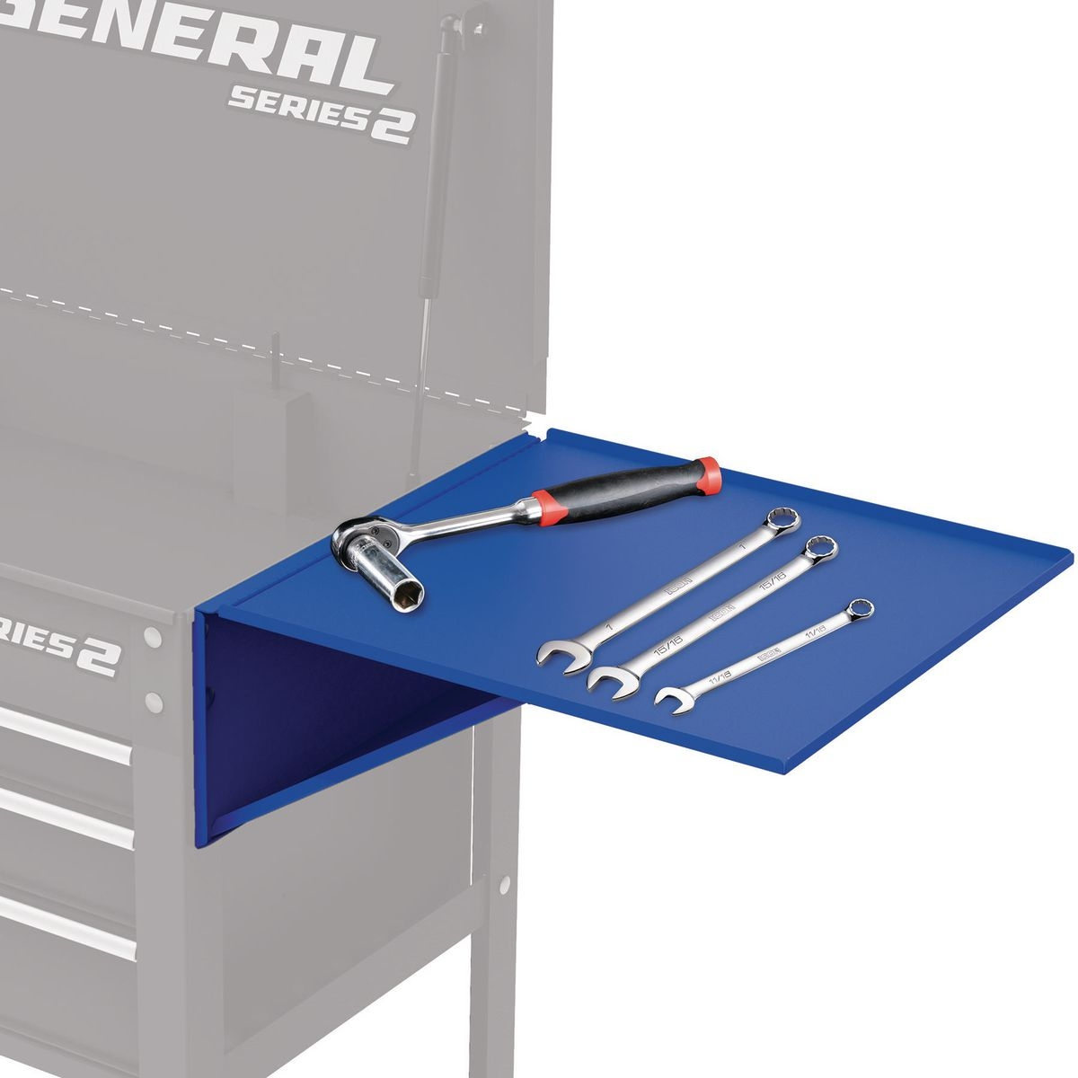 U.S. GENERAL Folding Side Tray for Blue 4 Drawer Tech Cart - Item 56439