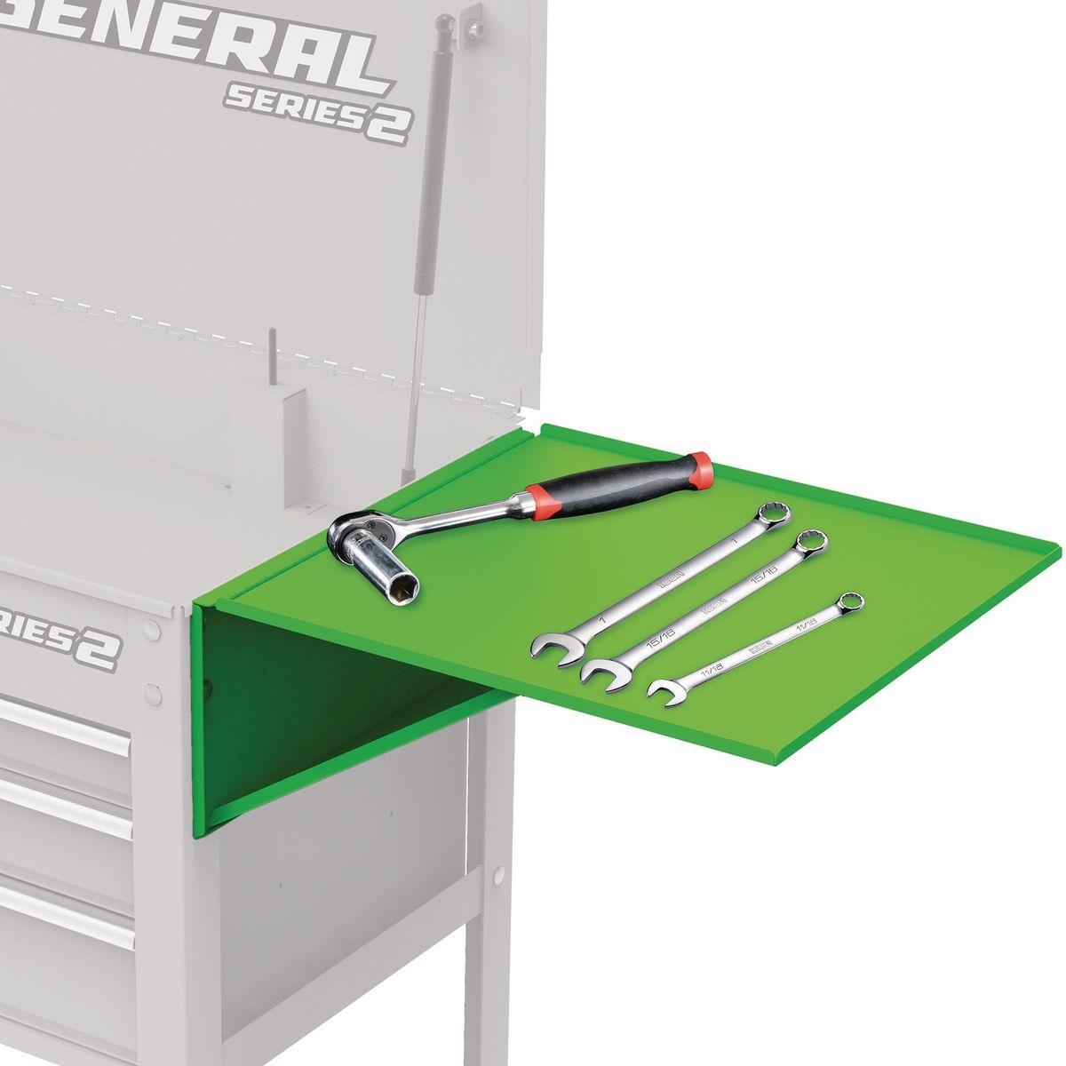 U.S. GENERAL Folding Side Tray for Green 4 Drawer Tech Cart - Item 56440