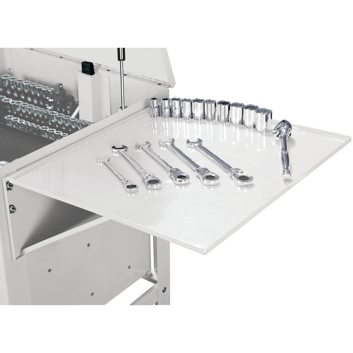 U.S. GENERAL Folding Side Tray for White Tool Cart - Item 56443