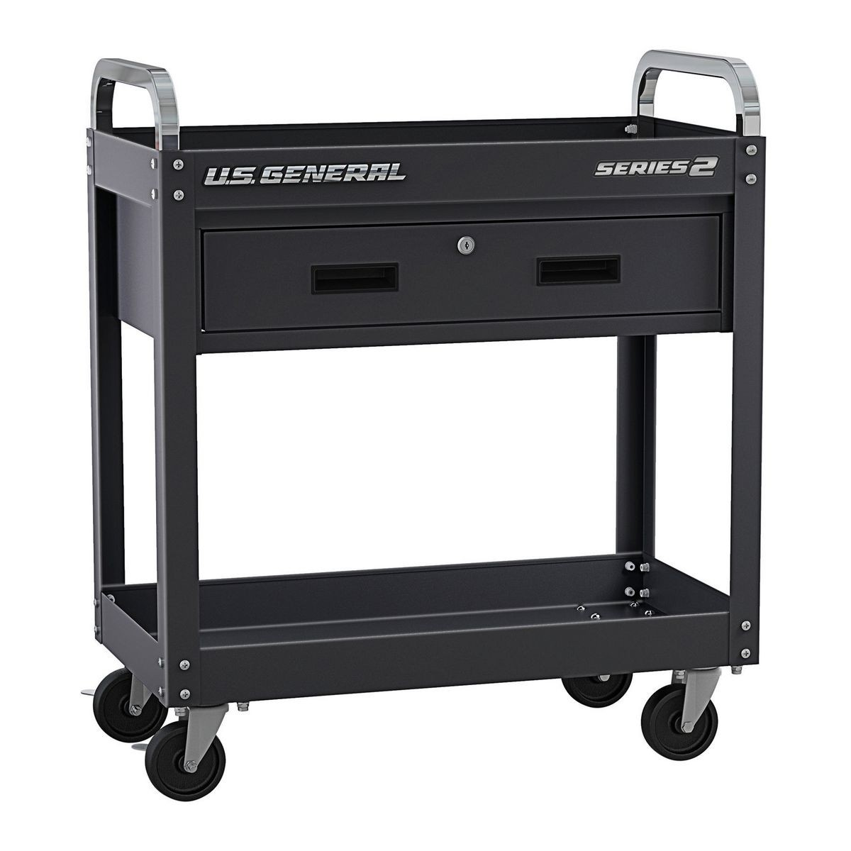 U.S. GENERAL 30 In. Service Cart With Drawer – Black – Item 56604