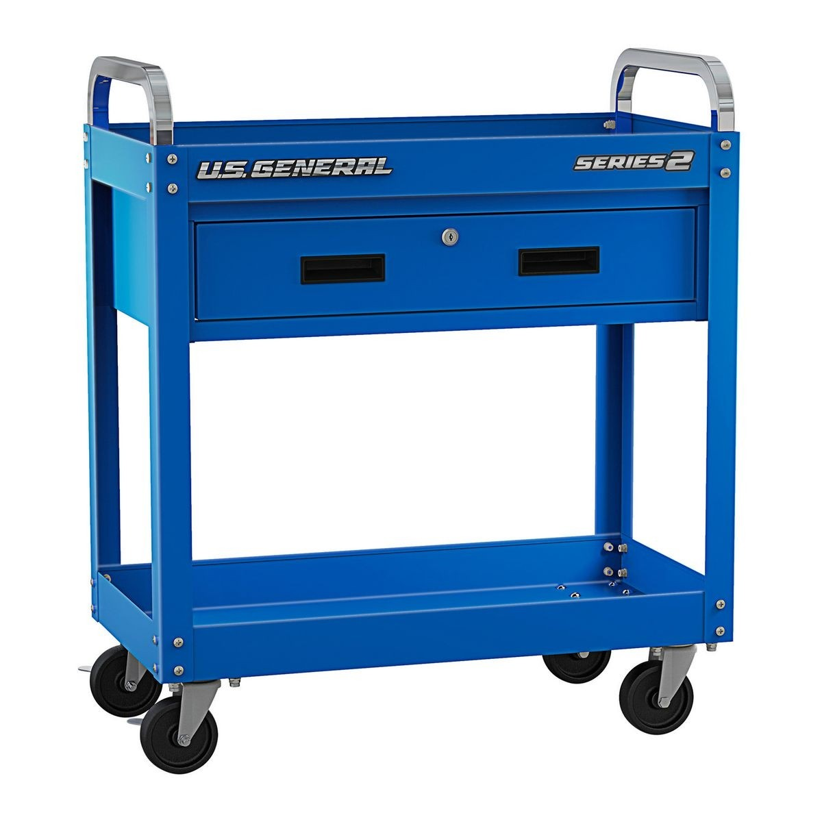 U.S. GENERAL 30 In. Service Cart With Drawer – Blue – Item 56606