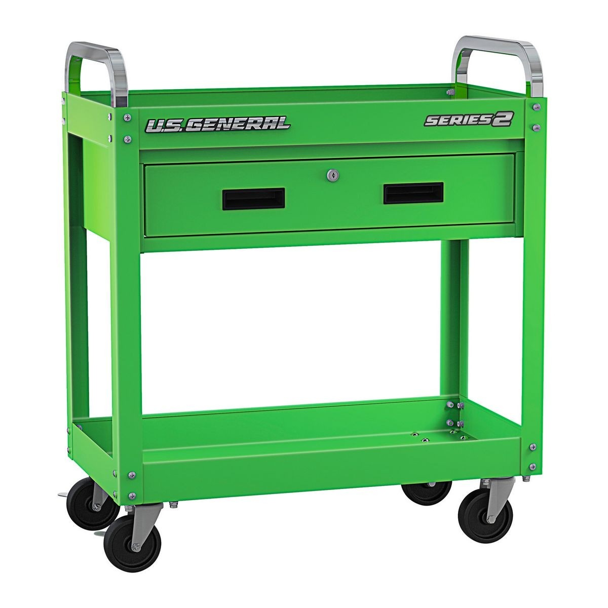 U.S. GENERAL 30 In. Service Cart With Drawer – Green – Item 56607