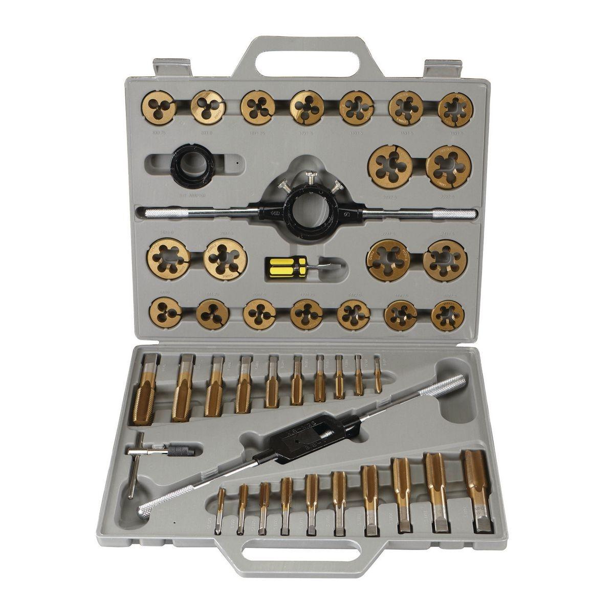 PITTSBURGH Titanium Nitride Coated Alloy Steel Metric Tap & Die Set 45 Pc. - Item 61410 / 41452 / 60676