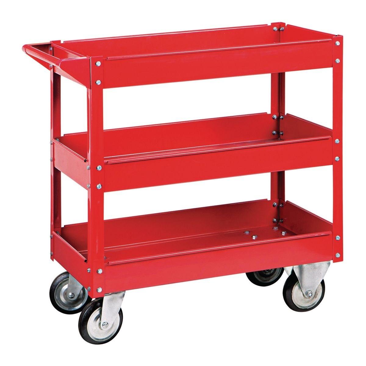 U.S. GENERAL 30 In. X 16 In. Three Shelf Steel Service Cart – Red – Item 62179 / 6650 / 61165