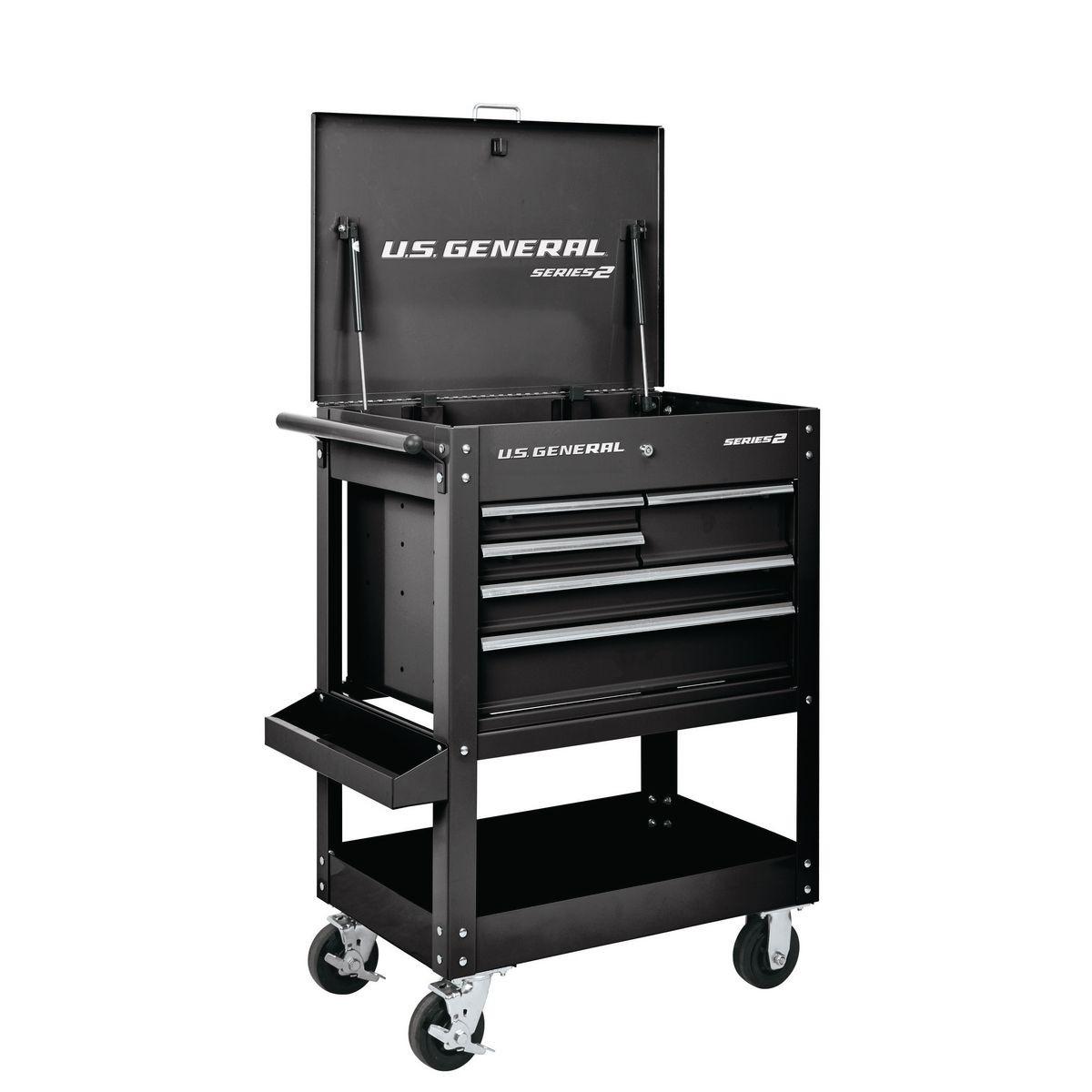 U.S. GENERAL 30 In. 5 Drawer Mechanic's Cart - Black - Item 64030 / 64032 / 64033