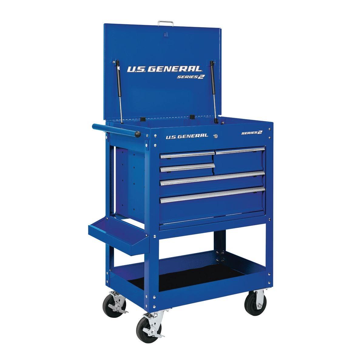 U.S. GENERAL 30 In. 5 Drawer Mechanic's Cart - Blue - Item 64031 / 56727 / 56728 / 56429