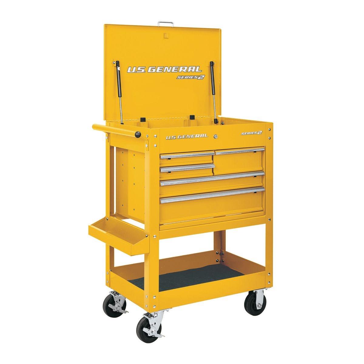 U.S. GENERAL 30 In. 5 Drawer Mechanic's Cart - Yellow - Item 64720 / 56239
